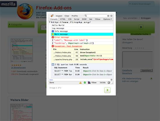 Firefox - Erweiterung - Firebug - Firephp
