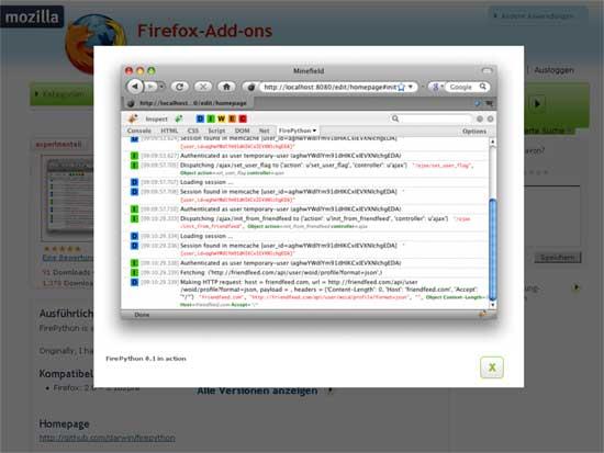 Firefox - Erweiterung - Firebug - FirePython