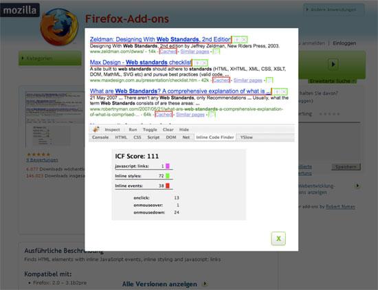 Firefox - Erweiterung - Firebug - Inline Code Finder