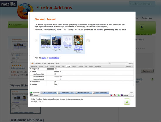 Firefox - Erweiterung - Firebug - Jiffy