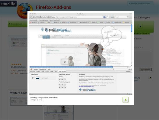 Firefox - Erweiterung - Firebug - Pixel Perfekt