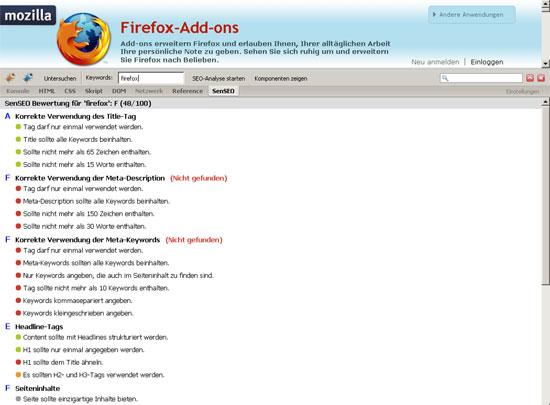 Firefox - Erweiterung - Firebug - Senseo