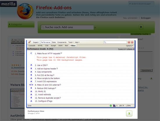 Firefox - Erweiterung - Firebug - YSlow